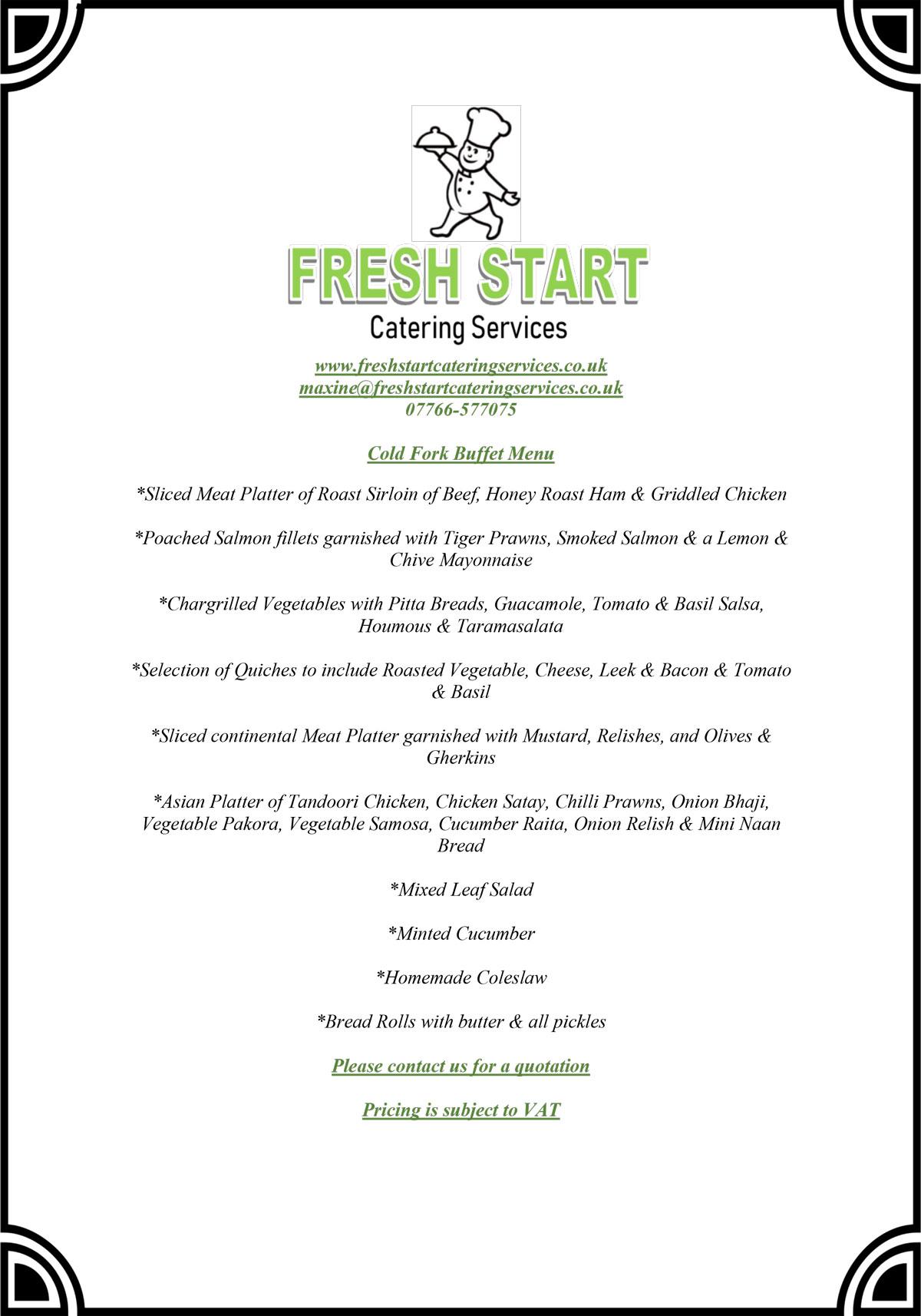 FSCS cold fork buffet menu