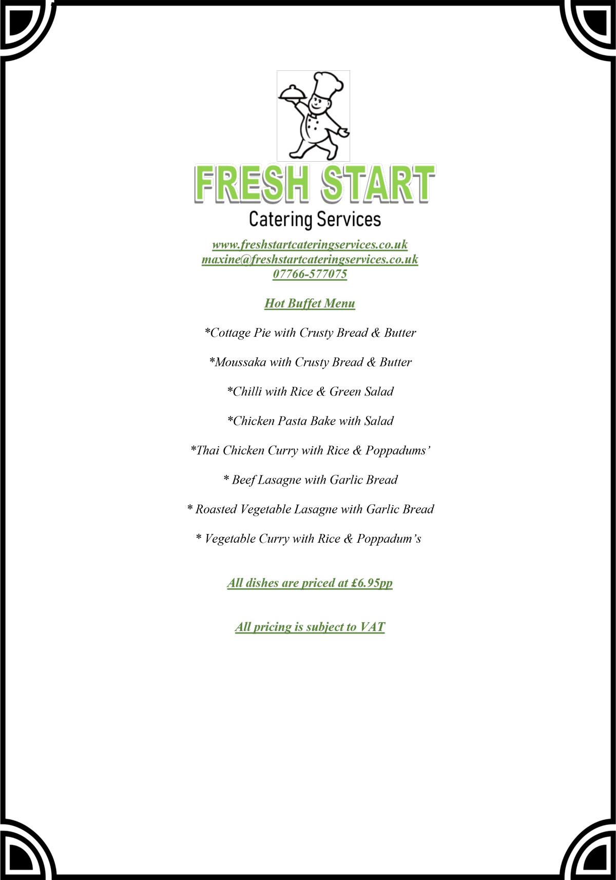 FSCS hot fork buffet menu