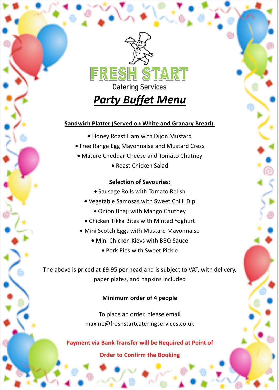 FSCS party buffet menu